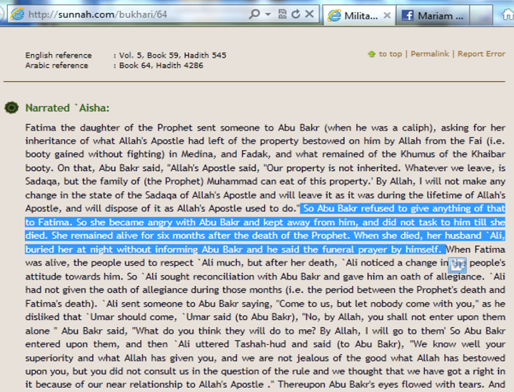 Lady Fatimaas remained angry with Abu Bakr